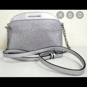 Silver Glitter Michael Kors Emmy Crossbody Purse